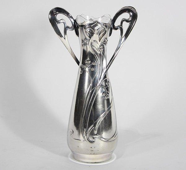 German WMF Britannia metal vase and glass insert in the