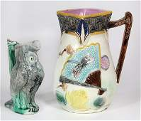(lot of 2) Majolica jugs, consisting of one small