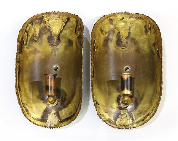 (lot of 2) Brutalist sconces by Tom Green for Feldman L