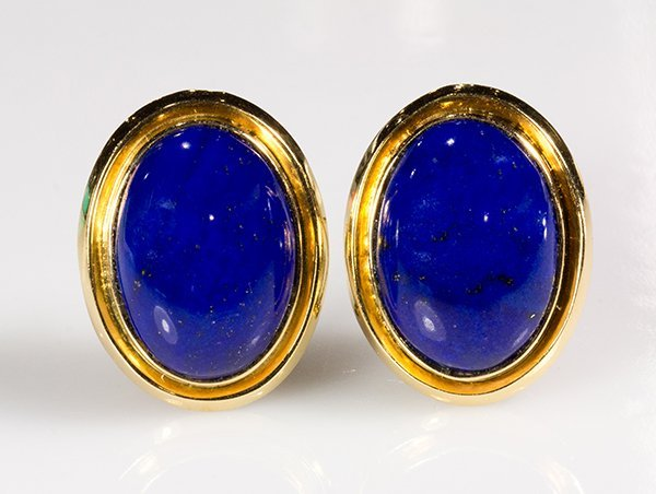Pair of lapis lazuli and 14k yellow gold earrings