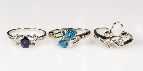 (Lot of 3) Gem and 14k white gold rings
