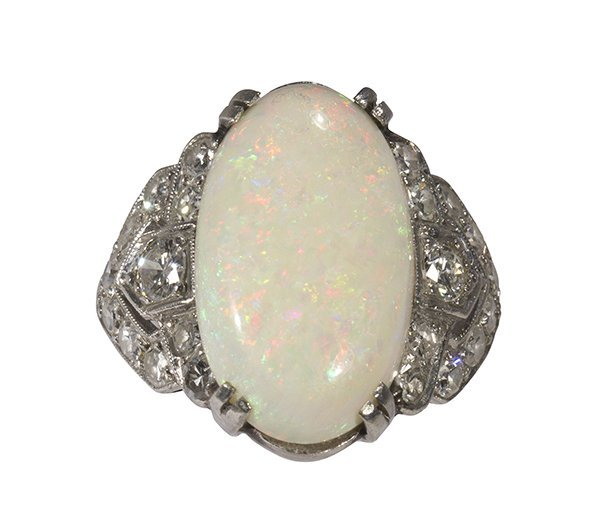 Art Deco opal, diamond and platinum ring