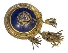 Victorian lapis lazuli gold-plated pendant-brooch
