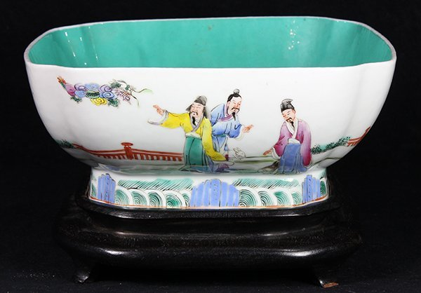 Chinese Porcelain Bowl, Figures and Zodiac
