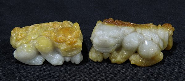 Two Chinese Jade Fu-lions