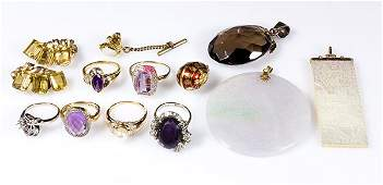 Collection of gem, gold and silver jewelry