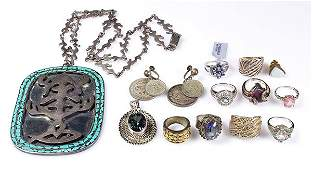 Collection of gemstone and silver jewelry