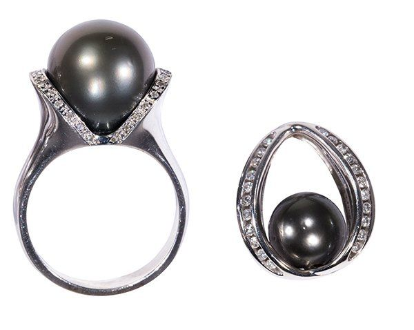 (Lot of 2) Collection of black cultured pearl, diamond