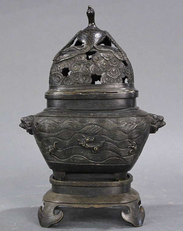 Chinese Bronze Lidded Censer, Phoenix