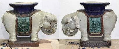Two Asian Pottery Elephant Garden Stools