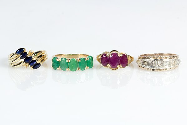 (Lot of 4) Gemstone and yellow gold rings