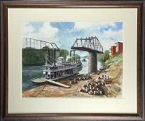 Watercolor, River Boat Scene with Figures