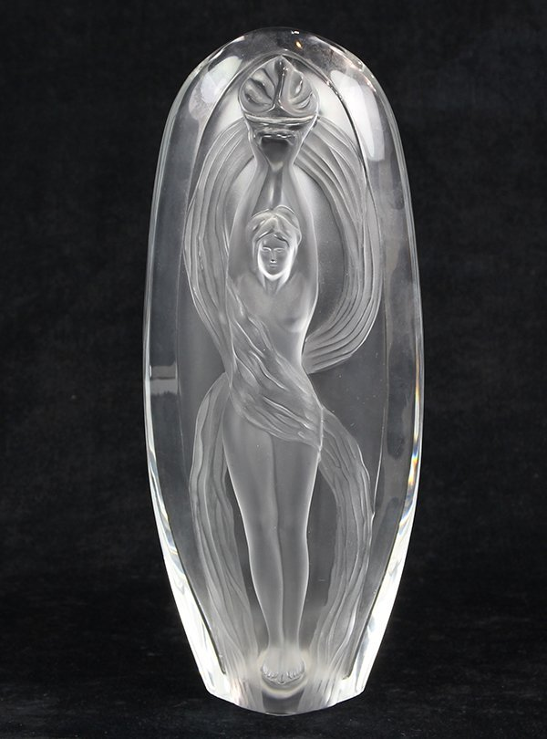 Marie-Claude Lalique 'Eroica' frosted glass vase