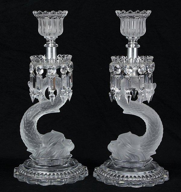 Pair of Baccarat crystal candelabra
