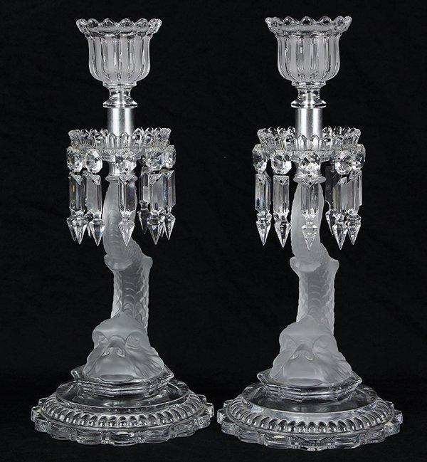 Pair of Baccarat crystal candelabra - 2