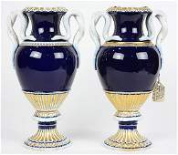 Pair of Meissen urns in the Neoclassical taste having