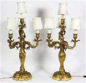 Pair of Art Nouveau handchased dore bronze candelabra