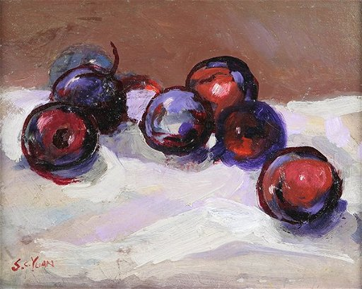 Painting, S C  Yuan, Plums