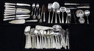 (lot of 89) American sterling silver flatware service
