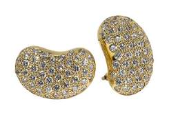 Pair of Tiffany  Co Elsa Peretti diamond and 18k
