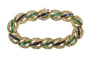 Charles Krypell emerald, sapphire, diamond and 18k