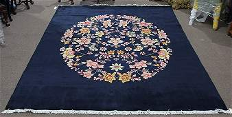 Art Deco Chinese style cobalt blue floral rug, 8' x 10'