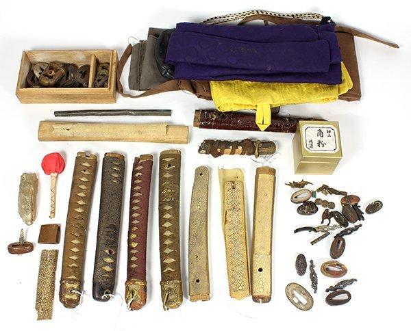 Box of Japanese Katana Tsuka, Furnitures, Fukuro