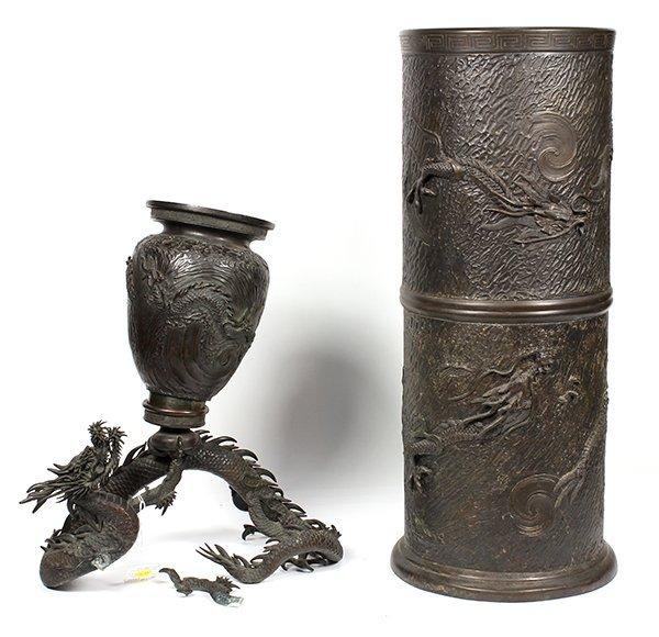Japanese Bronze Dragon Vase and Umbrella Stand, Meiji