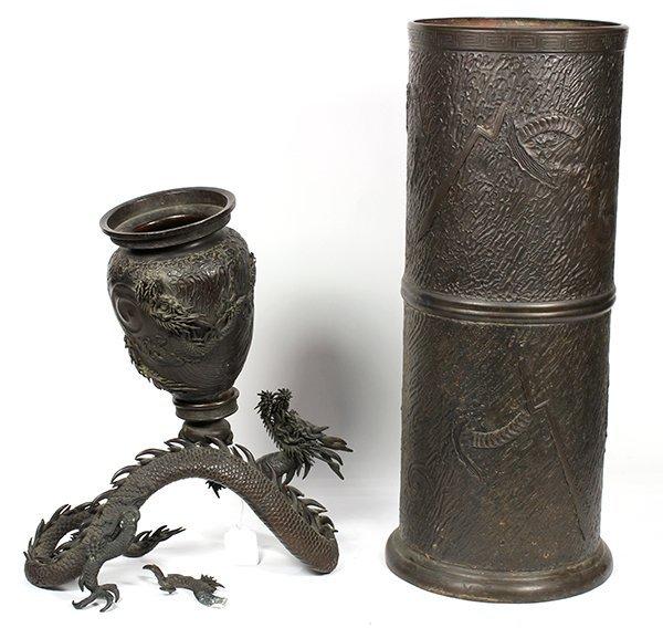 Japanese Bronze Dragon Vase and Umbrella Stand, Meiji - 2