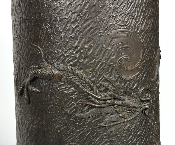 Japanese Bronze Dragon Vase and Umbrella Stand, Meiji - 3
