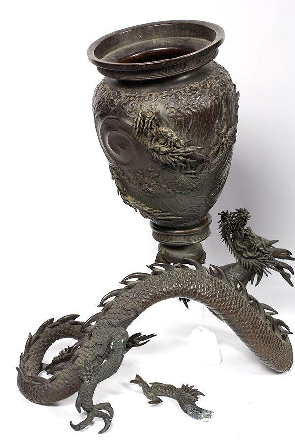 Japanese Bronze Dragon Vase and Umbrella Stand, Meiji - 4