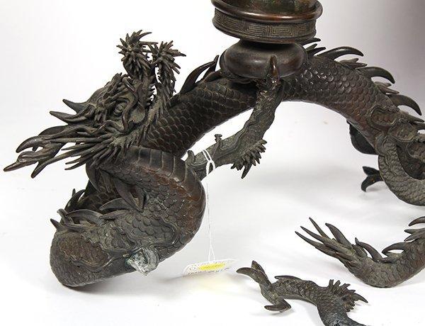 Japanese Bronze Dragon Vase and Umbrella Stand, Meiji - 5