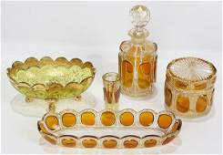 lot of 5 Moser amber glass accessories comprising a
