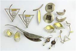 Collection of modernist gold and silver jewelry