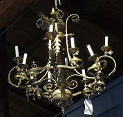 Gothic style patinated bronze chandelier
