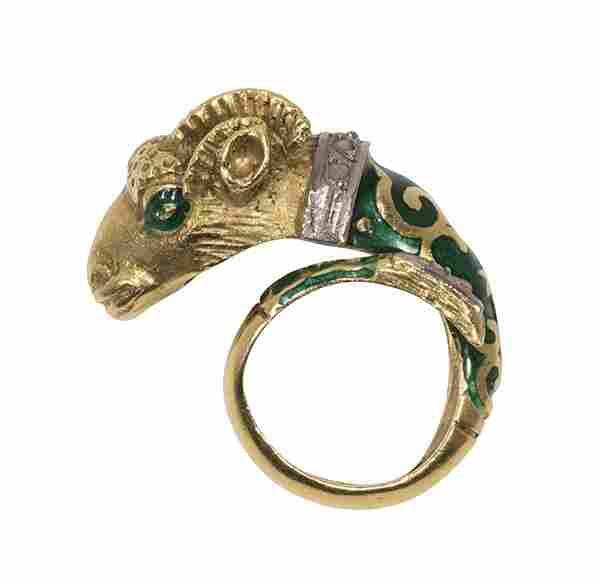 Enamel, diamond and 18k gold ram's head ring