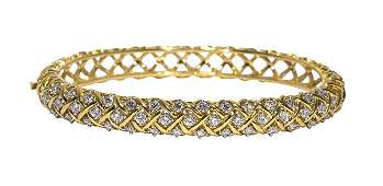 McTeigue diamond 18k yellow gold and platinum bangle