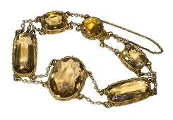Citrine seed pearl and 14k yellow gold bracelet