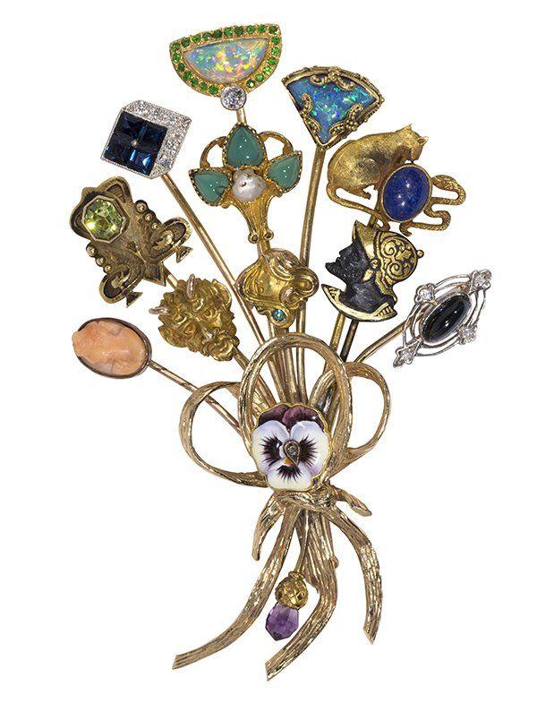 Multi-gem, enamel, yellow gold and platinum stick pin