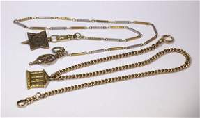 Lot of 2 14k gold pocket watch chains
