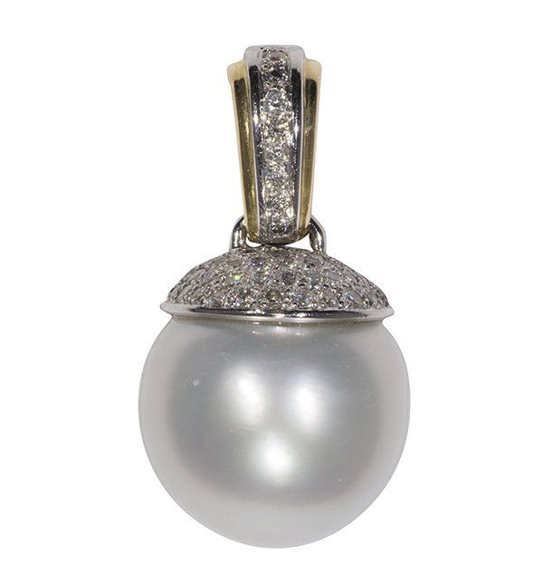 Large South Sea cultured pearl, diamond and 18k gold