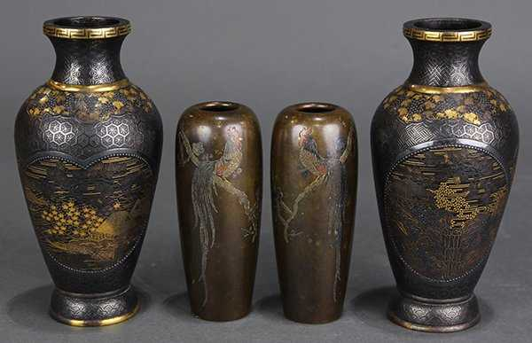Japanese Bronze Vases Hattori Meiji