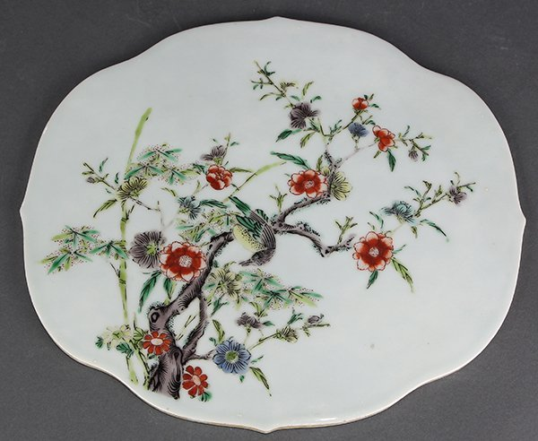 Chinese Famille Verte Porcelain Plaque, Bird