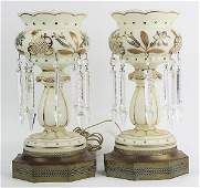 Pair of Victorian style mantle lustres mounted as table