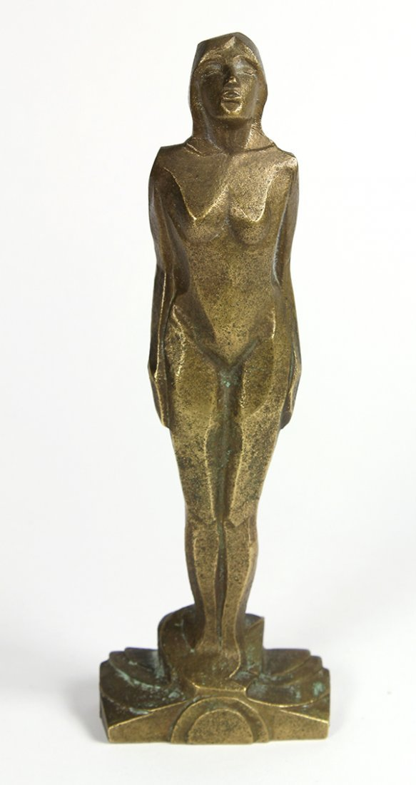 Abstract Art Deco nude, executed in gilt bronze,