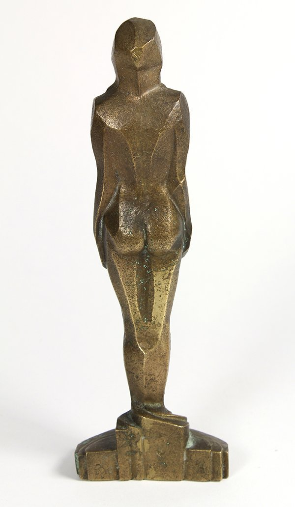 Abstract Art Deco nude, executed in gilt bronze, - 2