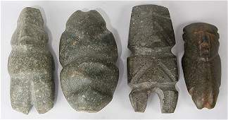 lot of 4 PreColumbian carved stone anthropomorphic