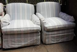 (lot of 4) Moderne custom loose cushion armchairs with