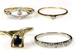 (Lot of 4) Gemstone and gold rings