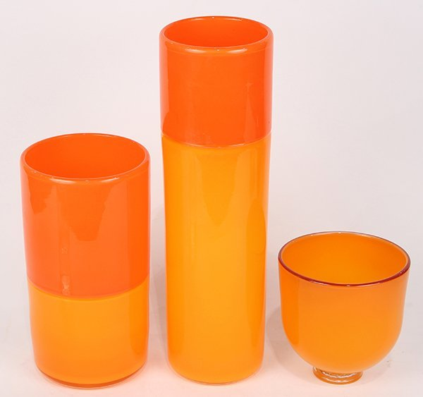 (lot of 3) Art glass vessels, executed in orange, two